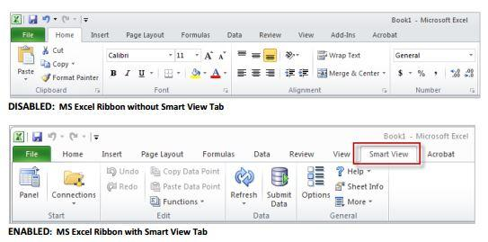 Smart View Displayed and Enabled on MS Excel Ribbon